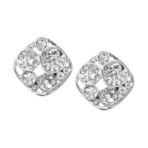 Rhinestone Pave Rhombus Shape Stud Earrings