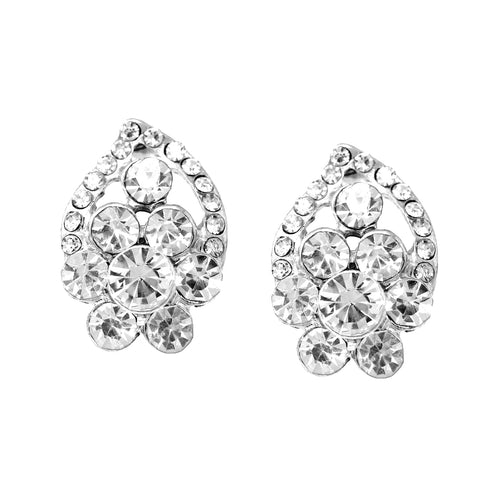 Rhinestone Pave Floral Stud Earrings