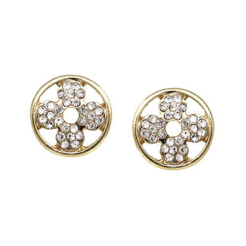 Rhinestone Pave Flower Stud Earrings