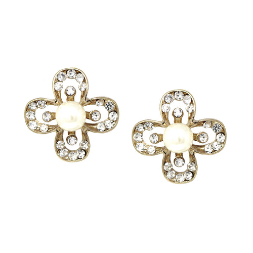 Rhinestone Pave Pearl Flower Stud Earrings