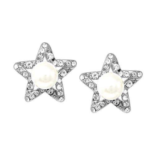 Rhinestone Pave Star With Pearl Stud Earrings