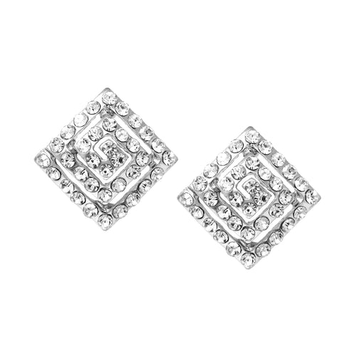 Rhinestone Pave Rhombus Shape Swirl Stud Earrings