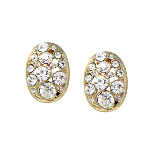 Rhinestone Pave Oval Shape Stud Earrings