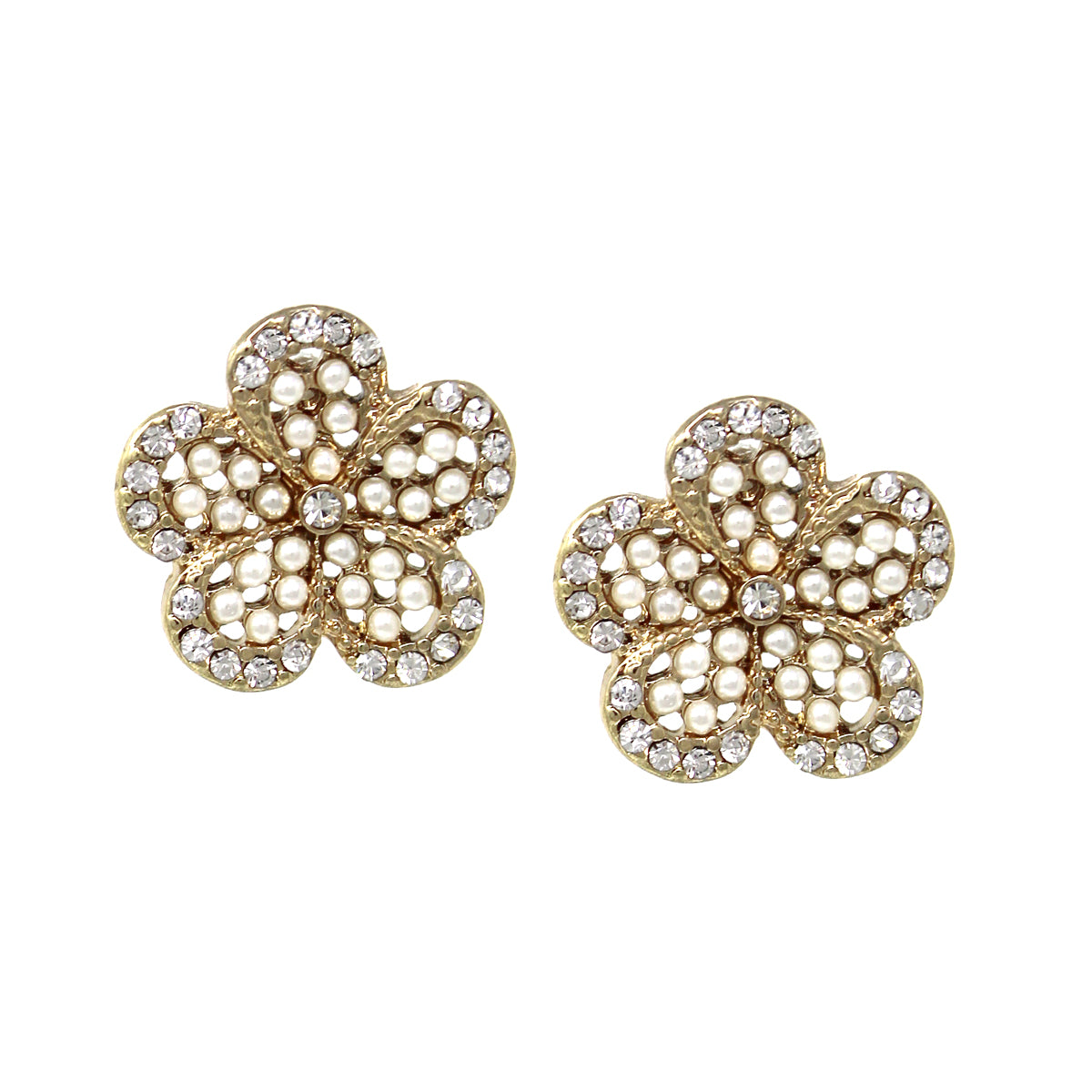 Rhinestone With Pearl Bead Pave Flower Stud Earrings