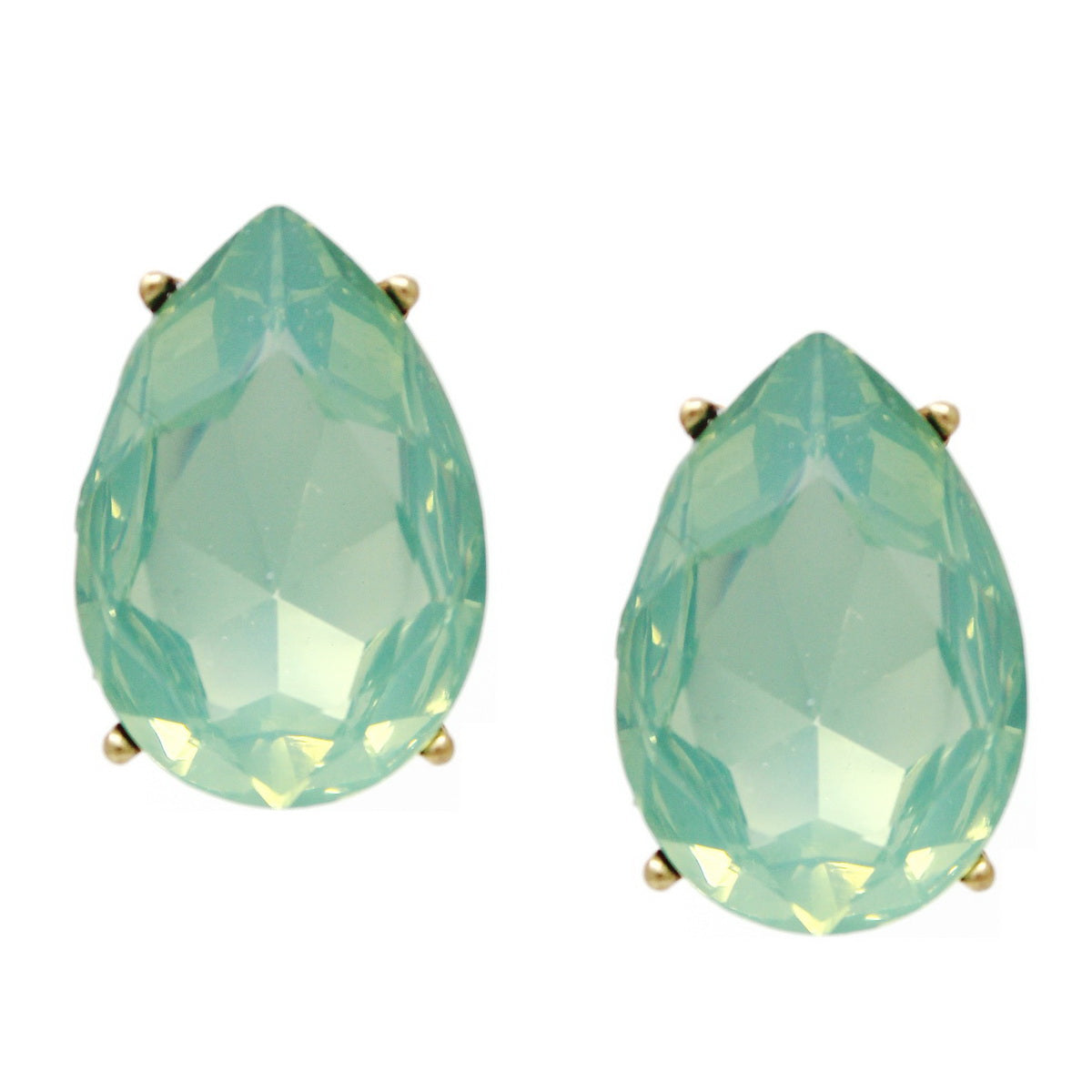 Teardrop Glass Stone Chunky Stud Earrings