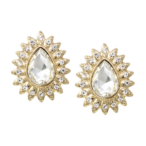 Rhinestone Pave With Teardrop Glass Stone Stud Earrings