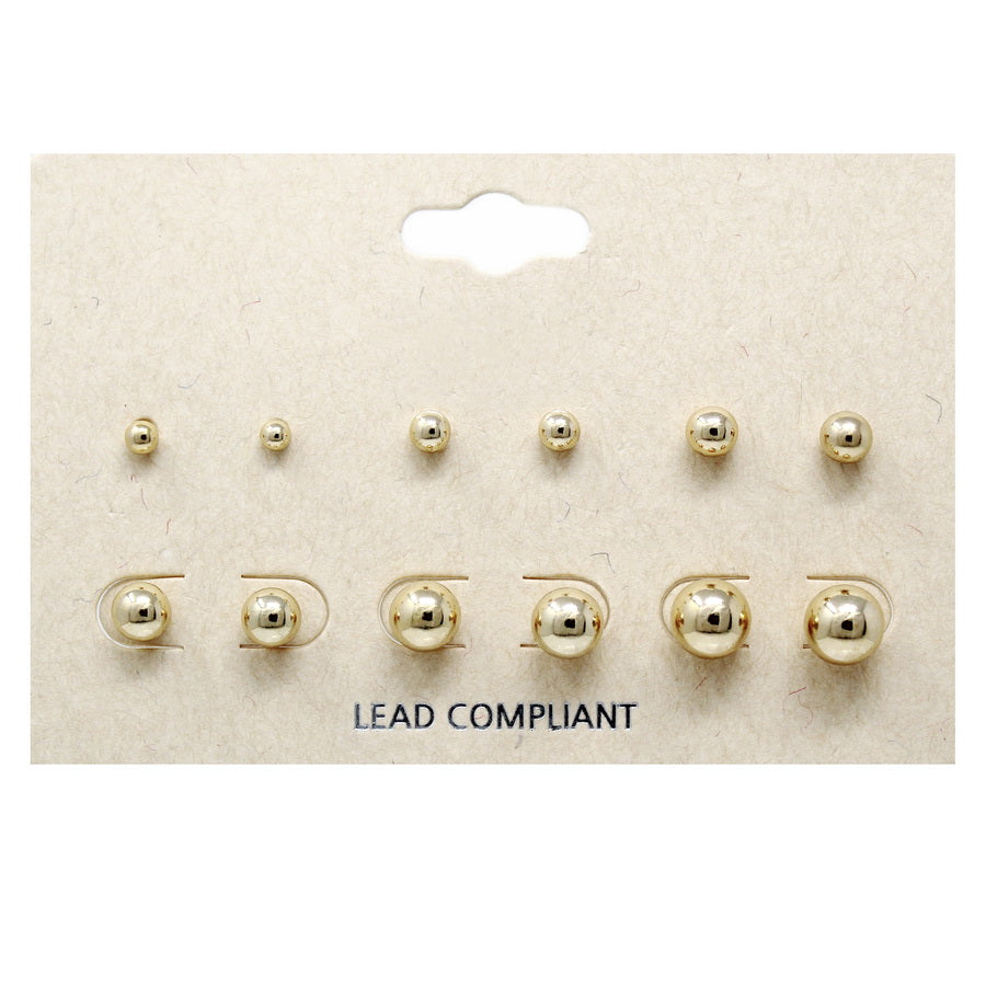 Assorted Size Ball Stud Earring Set