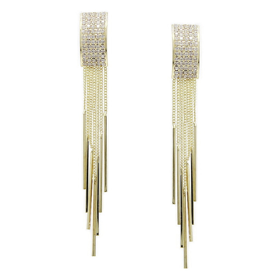Rhinestone Pave Rectangular Top With Chain Fringe Earrings