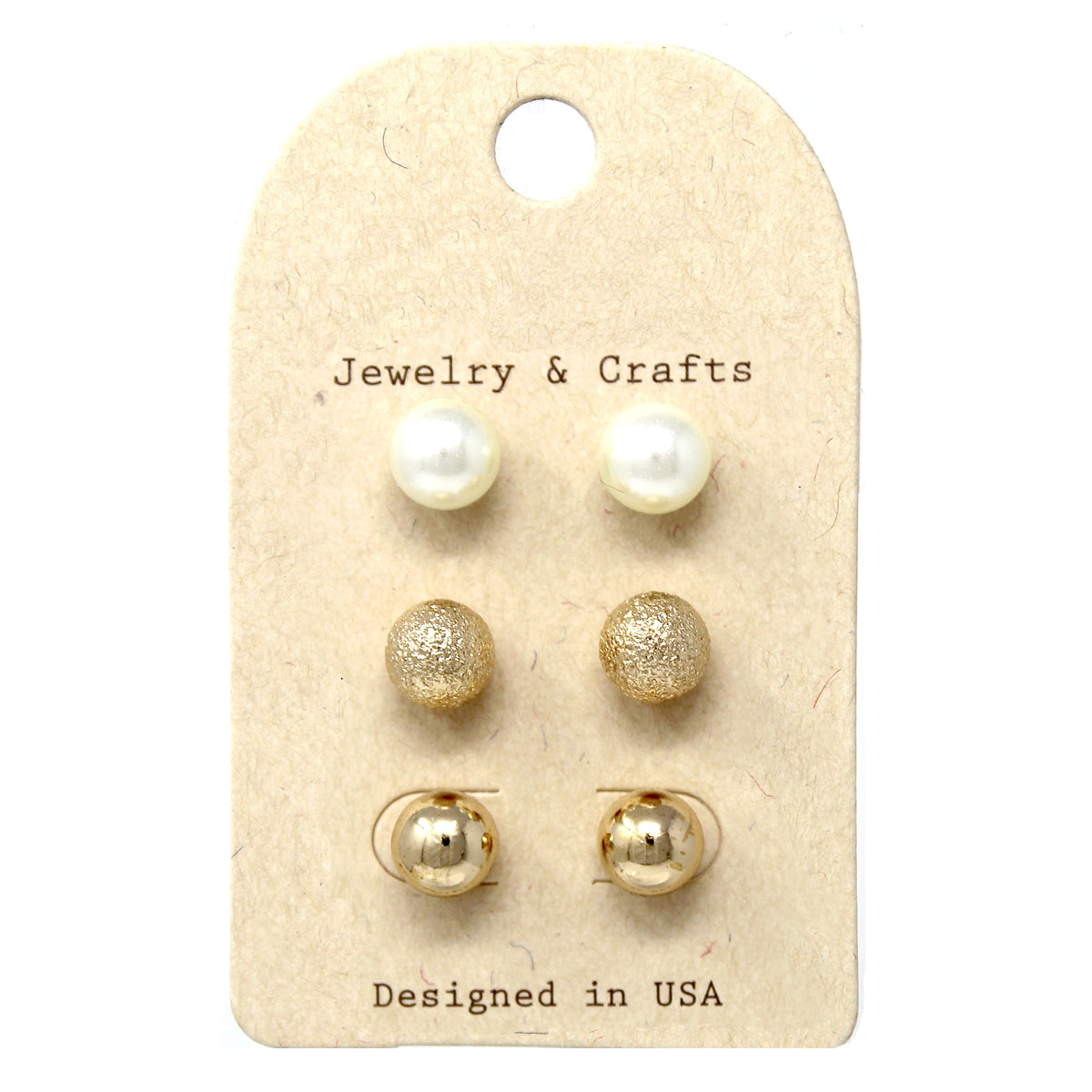 Pearl/ Metal Ball Stud Earrings Set