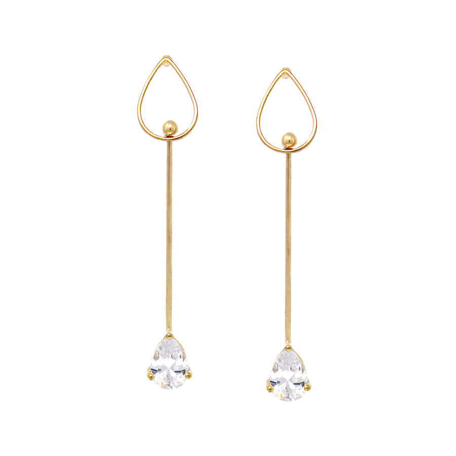 Teardrop Shape Cubic Zirconia With Metal Bar Drop Earrings
