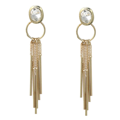 Oval Glass Stone Metal Bar Fringe Drop Earings