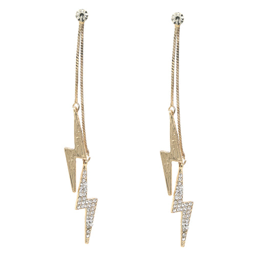 Rhinestone Pave Thunder Chain Drop Earrings