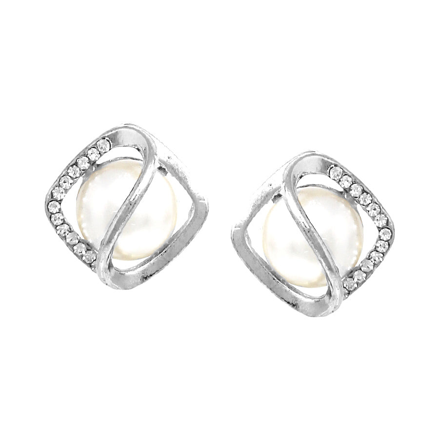 Cubic Zirconia Pave Frame With Pearl Stud Earrings