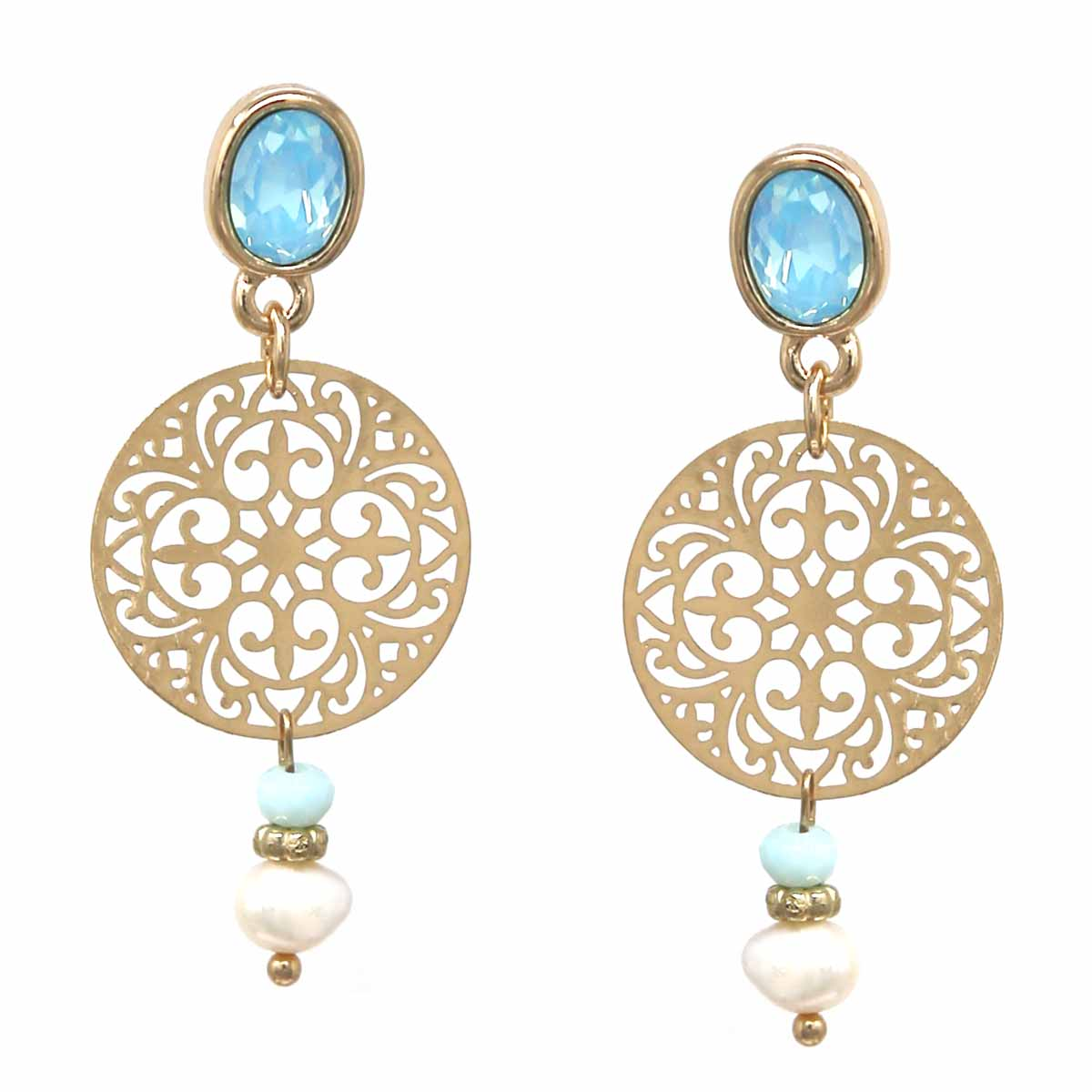 Oval Glass Stone Filigree Disc Freshwater Pearl Drop Earrings