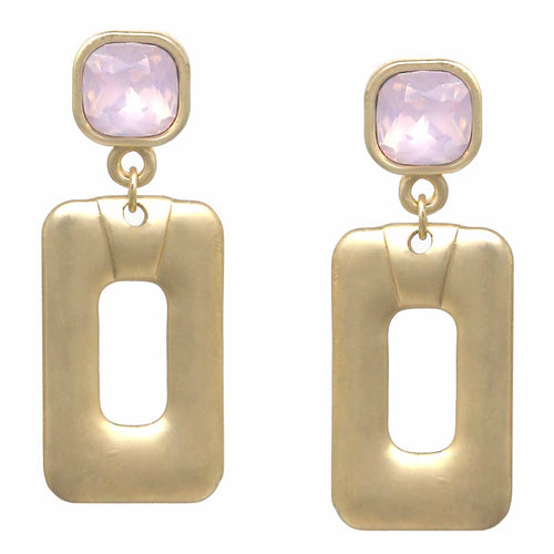 Square Glass Stone Matte Finished Rectangle Drop Earrings