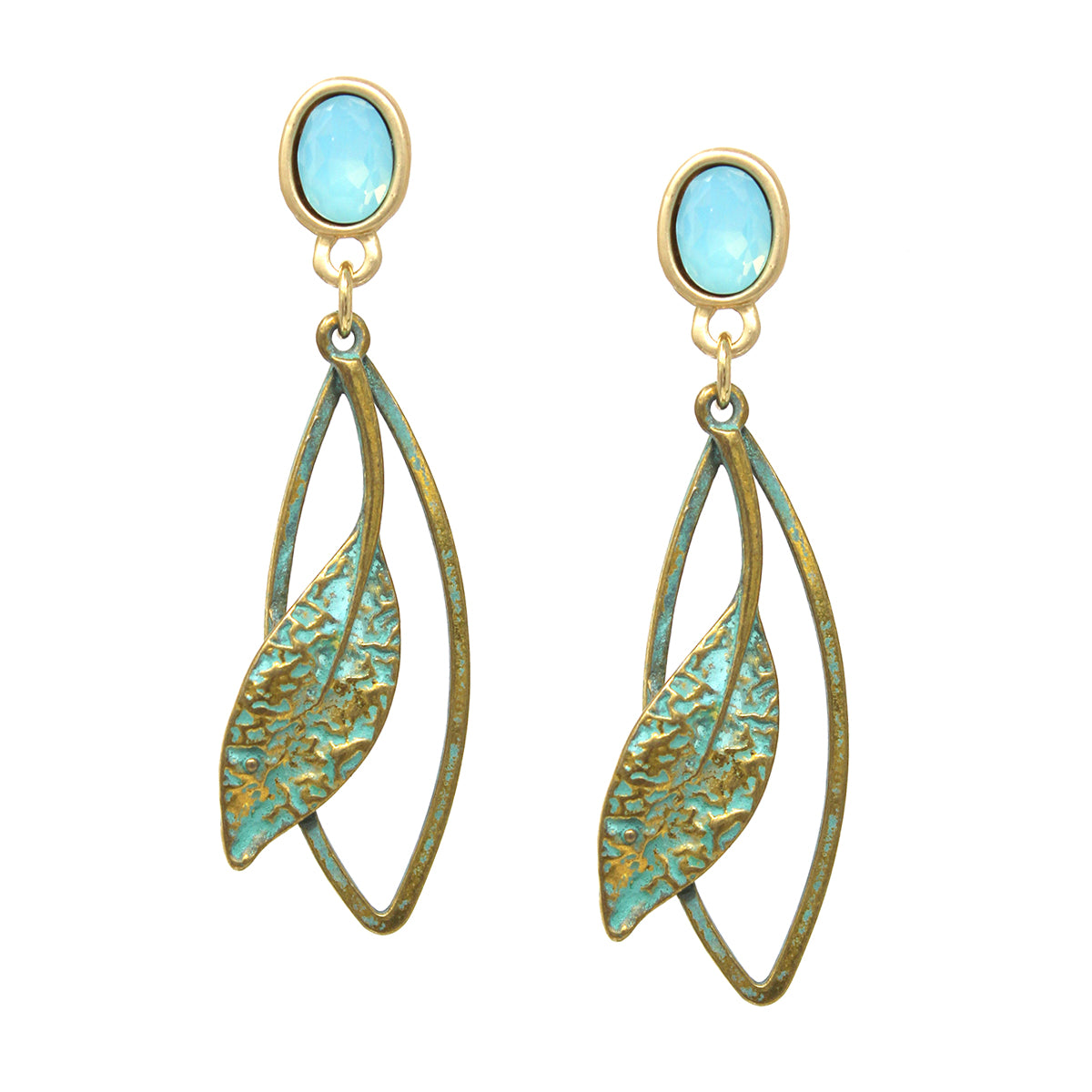 Oval Glass Stone Patina Finished Metal Leaf Drop Earrings
