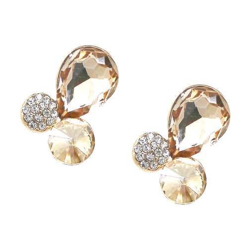Glass Stone and Rhinestone Paved Disc Stud Earrings