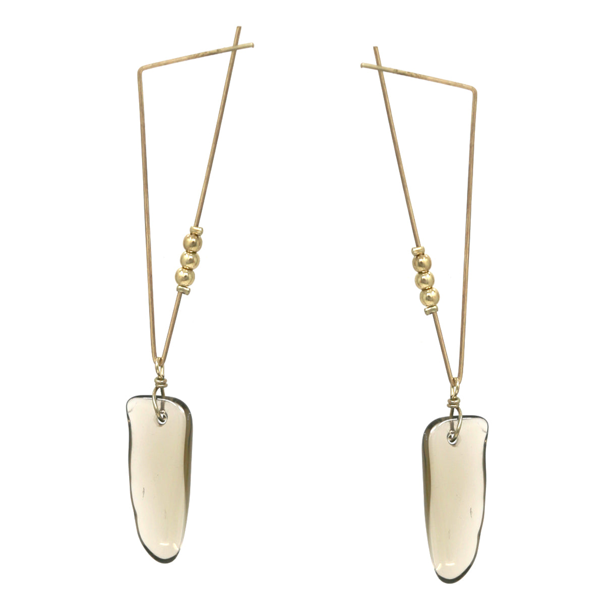 Triangle Metal Natural Stone Bar Drop Earrings