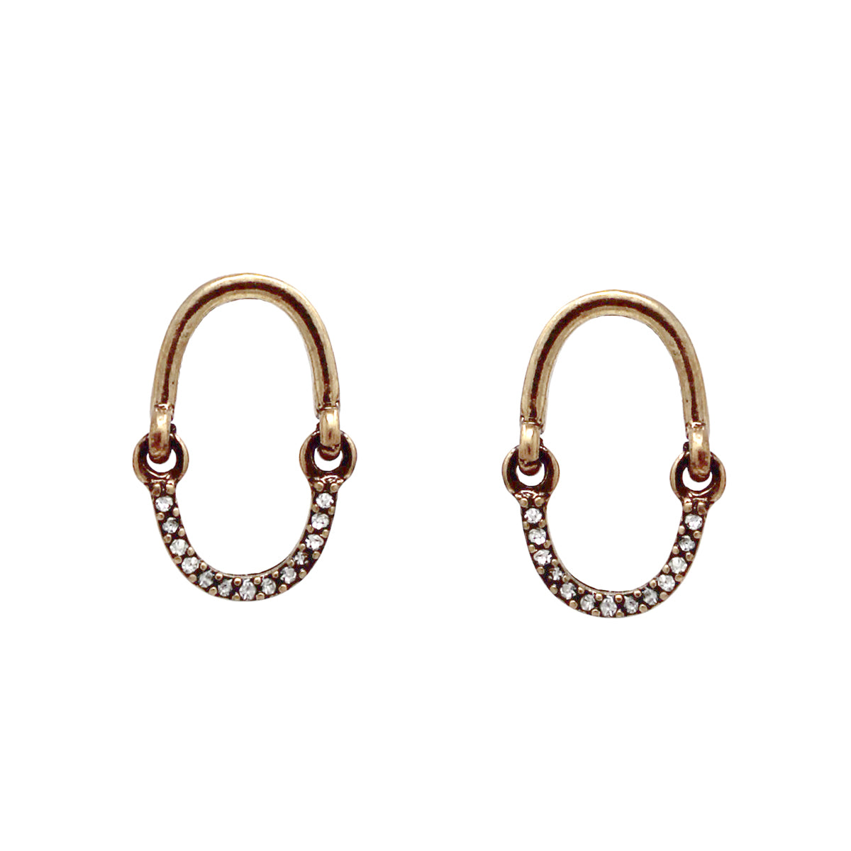 Rhinestone Pave Half Hoop Drop Earrings