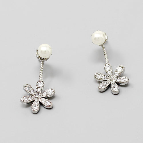 CZ Pave Flower Pearl Top Ear Jacket Earrings