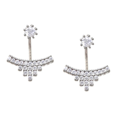Cubic Zirconia Pave Ear Jacket Earrings