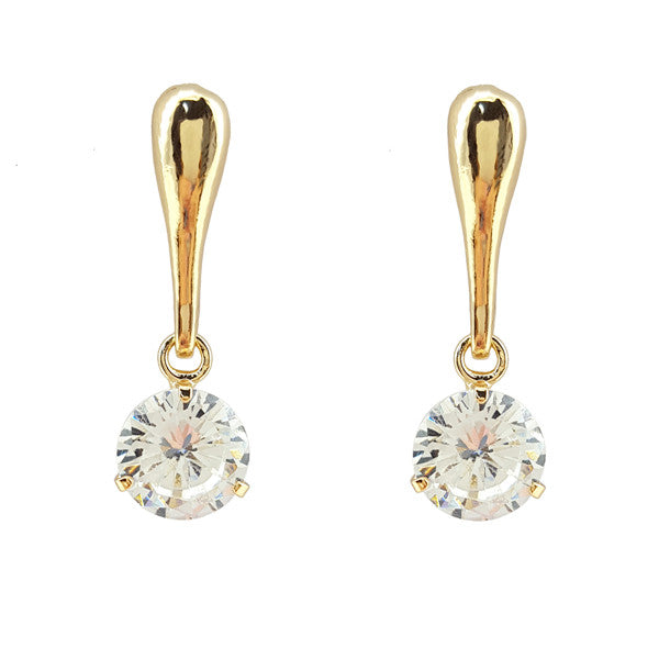 Cubic Zirconia Metal Bar Earrings