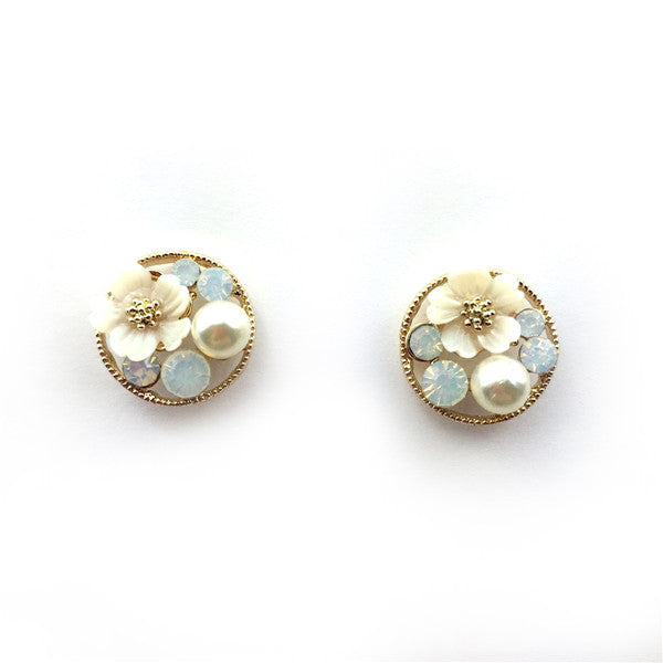 Pastel Stone with Lily Earrings
