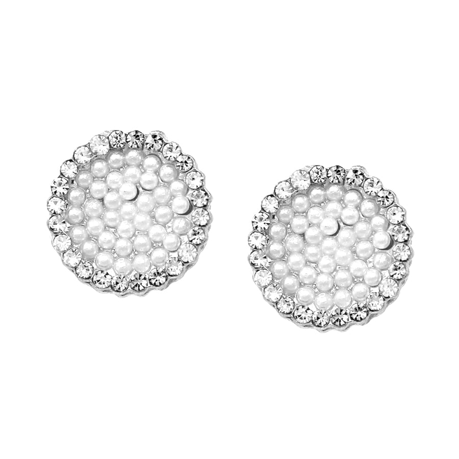 Cubic Zirconia With Pearl Pave Disc Stud Earrings