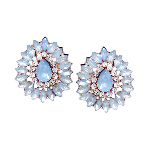 Rhinestone Pave Stone Cluster Teardrop Shape Stud Earrings