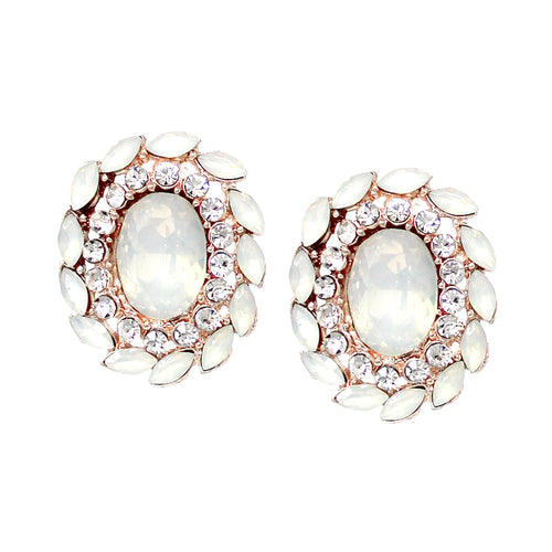 Rhinestone Pave Stone Cluster Oval Shape Stud Earrings