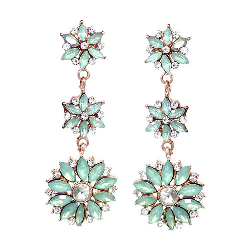 Floral Shape Stone Cluster Linear Drop Earrings