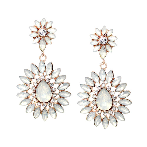 Floral Shape Marquise Stone Cluster Drop Earrings