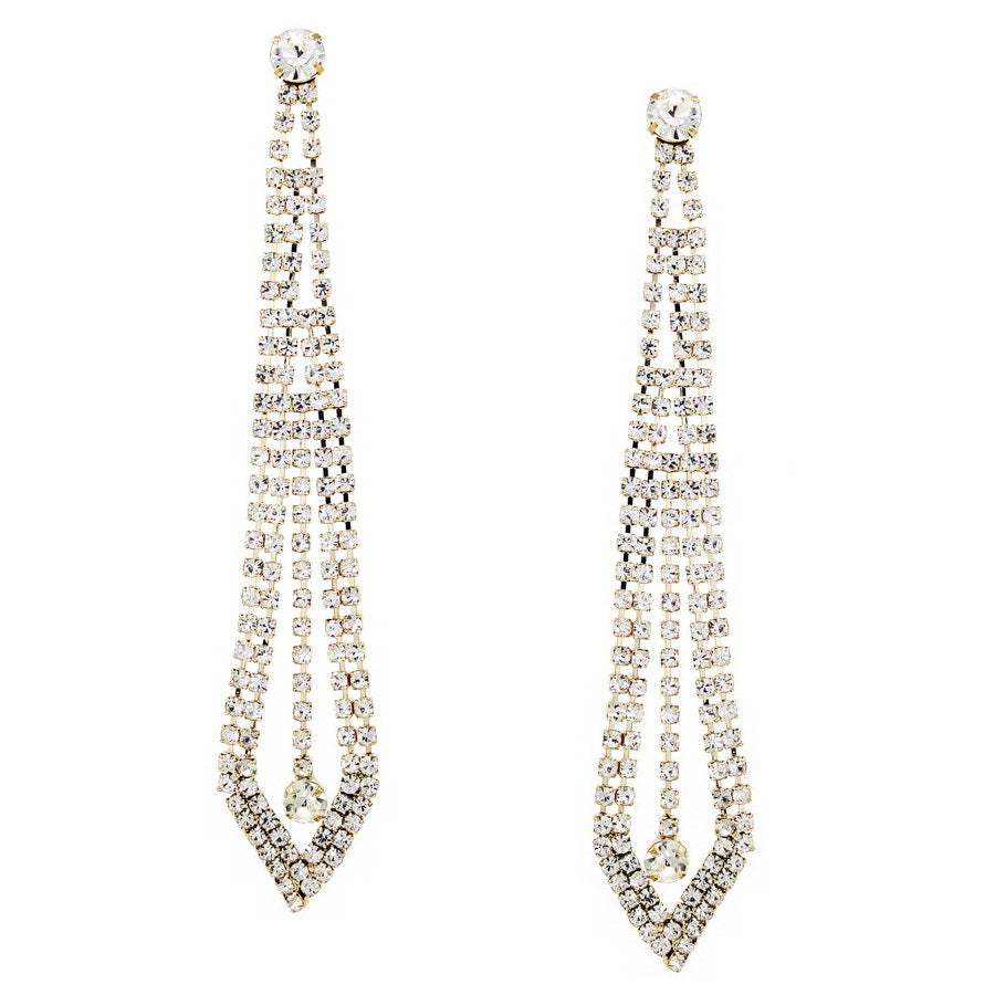 Rhinestone Pave Pointed Statement Earrings