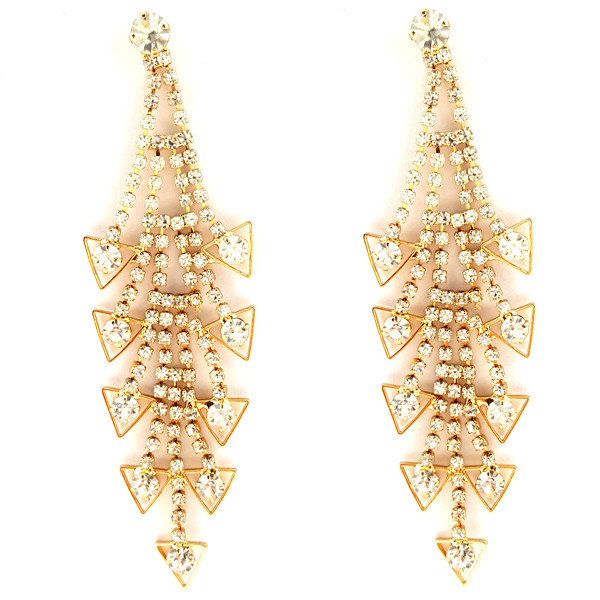 Cascade Rhinestone Bridal Drop Earrings