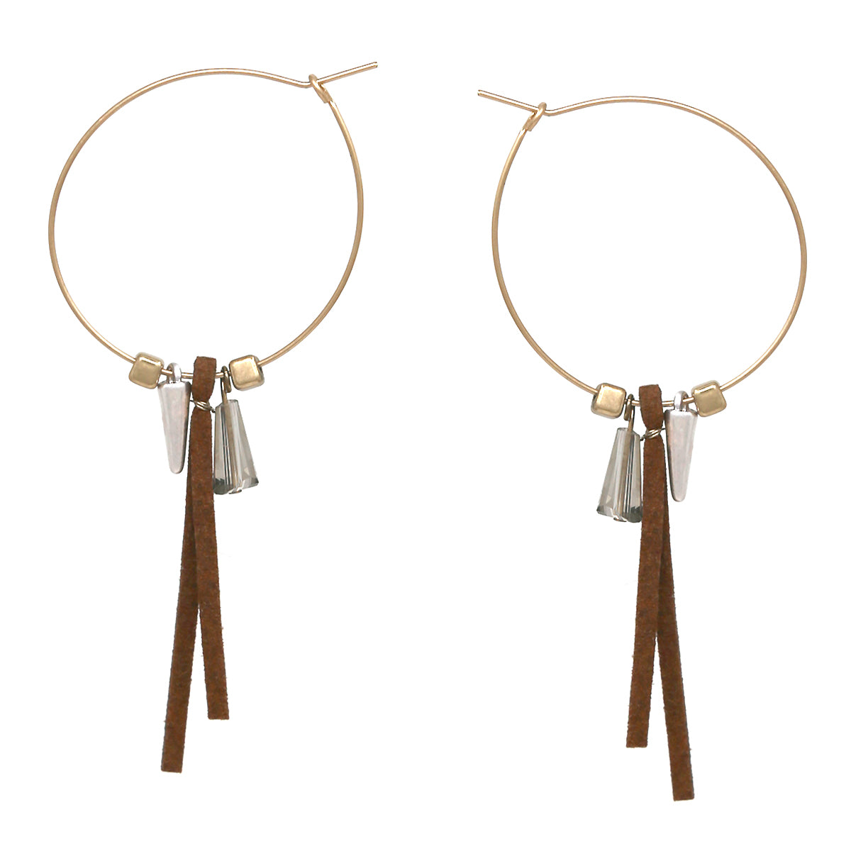 Faux Leather/ Glass/ Metal Charm Hoop Drop Earrings