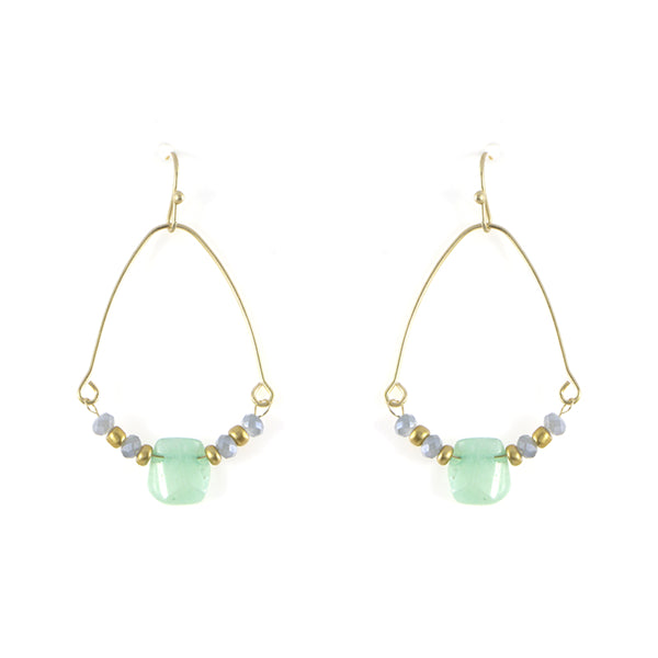 Natural Gem Stone Cage Earrings