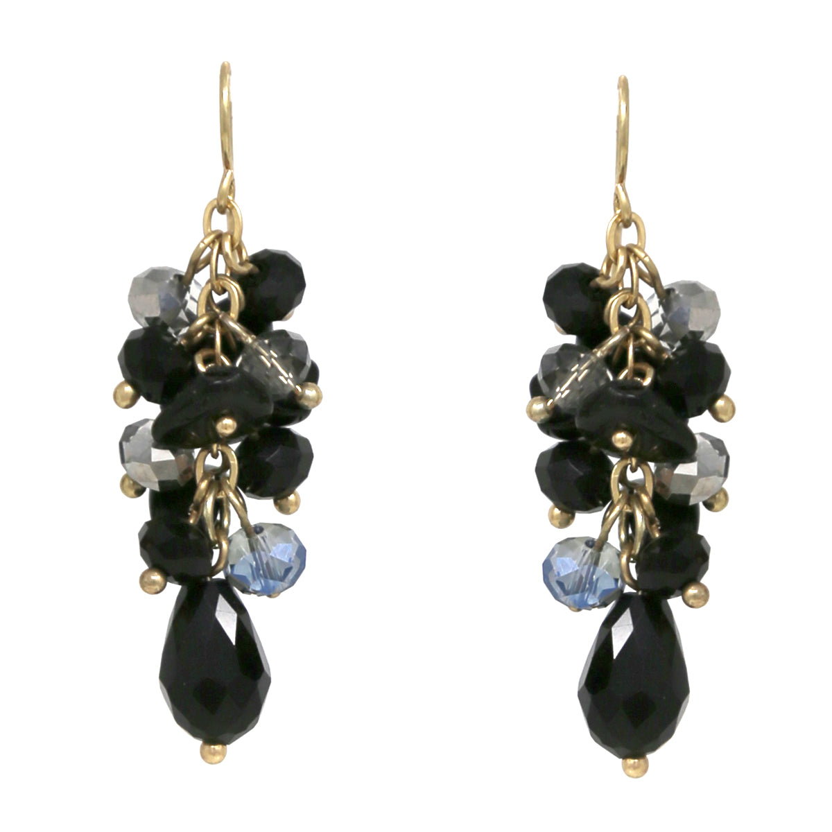 Glass Bead And Natural Stone Cluster Drop Earrings