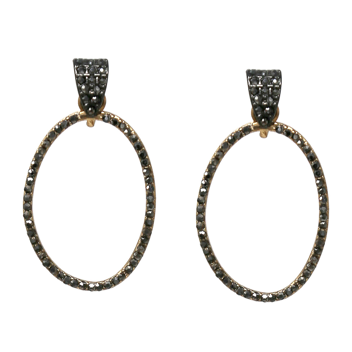 Rhinestone Pave Oval Hoop Drop Earrings