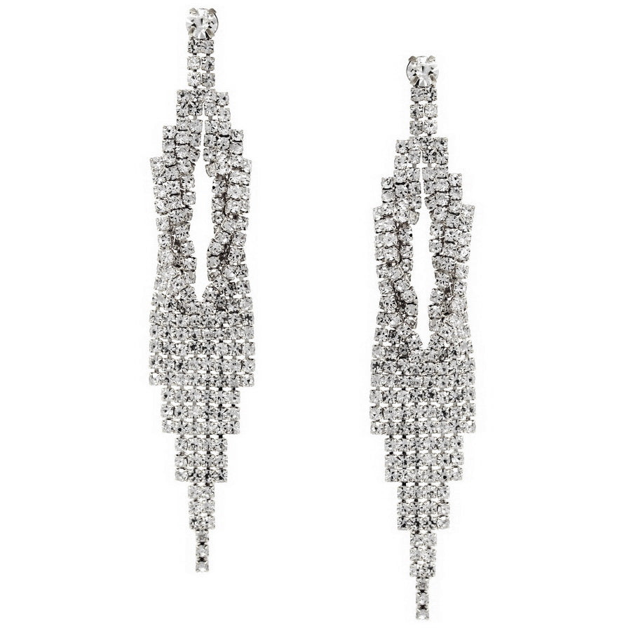Rhinestone Pave Twisted Statement Earrings