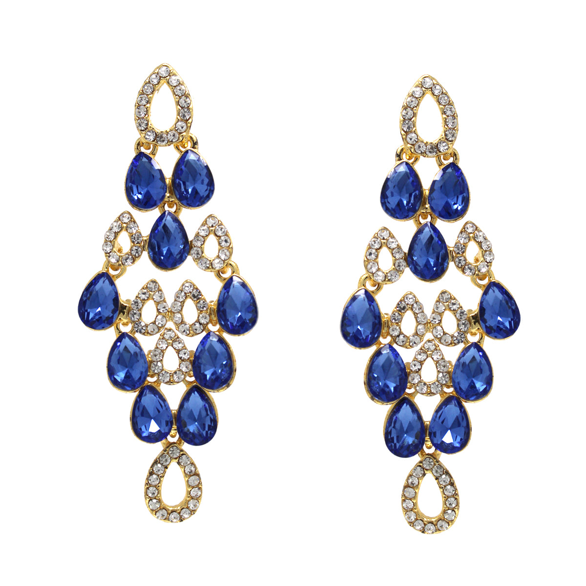 Glass Stone Pave Chandelier Drop Earrings