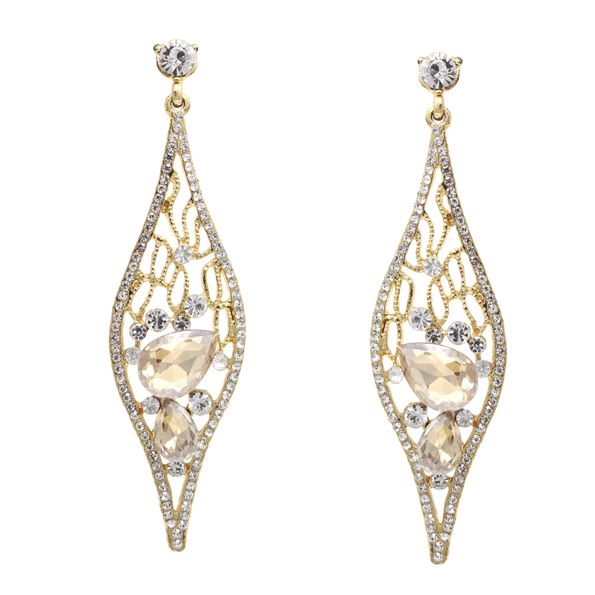 Glass Stone Pave Marquise Shape Drop Earrings