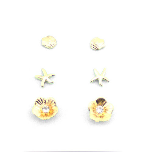 3 Pairs Ocean Inspired Multi Ear Studs Set