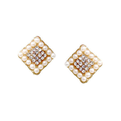 Pearl Bead With Rhinestone Pave Square Shape Stud Earrings