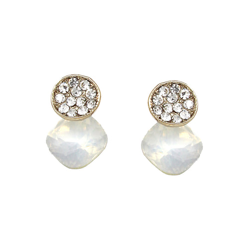 Rhinestone Pave Disc With Square Shape Stone Stud Earrings