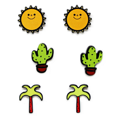 Sun & Cactus & Palm Tree Acrylic Mini Pin Set
