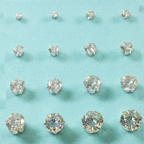 8 Pairs Multi Cubic zirconia and Brass Ear Studs Set