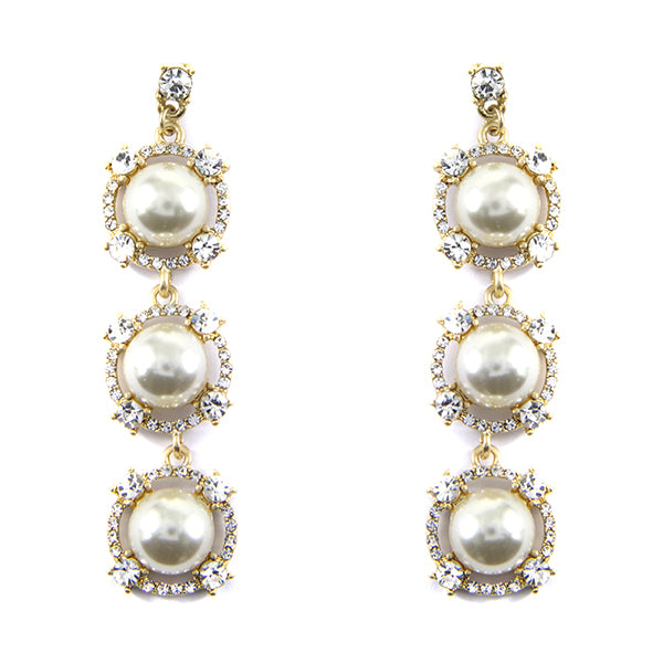 Glass Stone with Pearl Statement Earrings