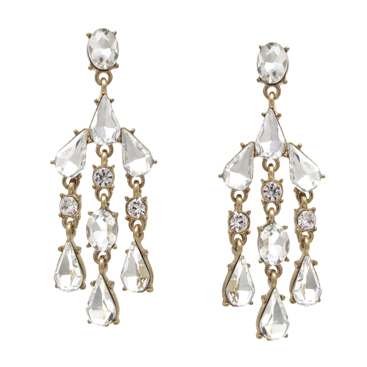 Rhinestone Pave Chandelier Drop Earrings