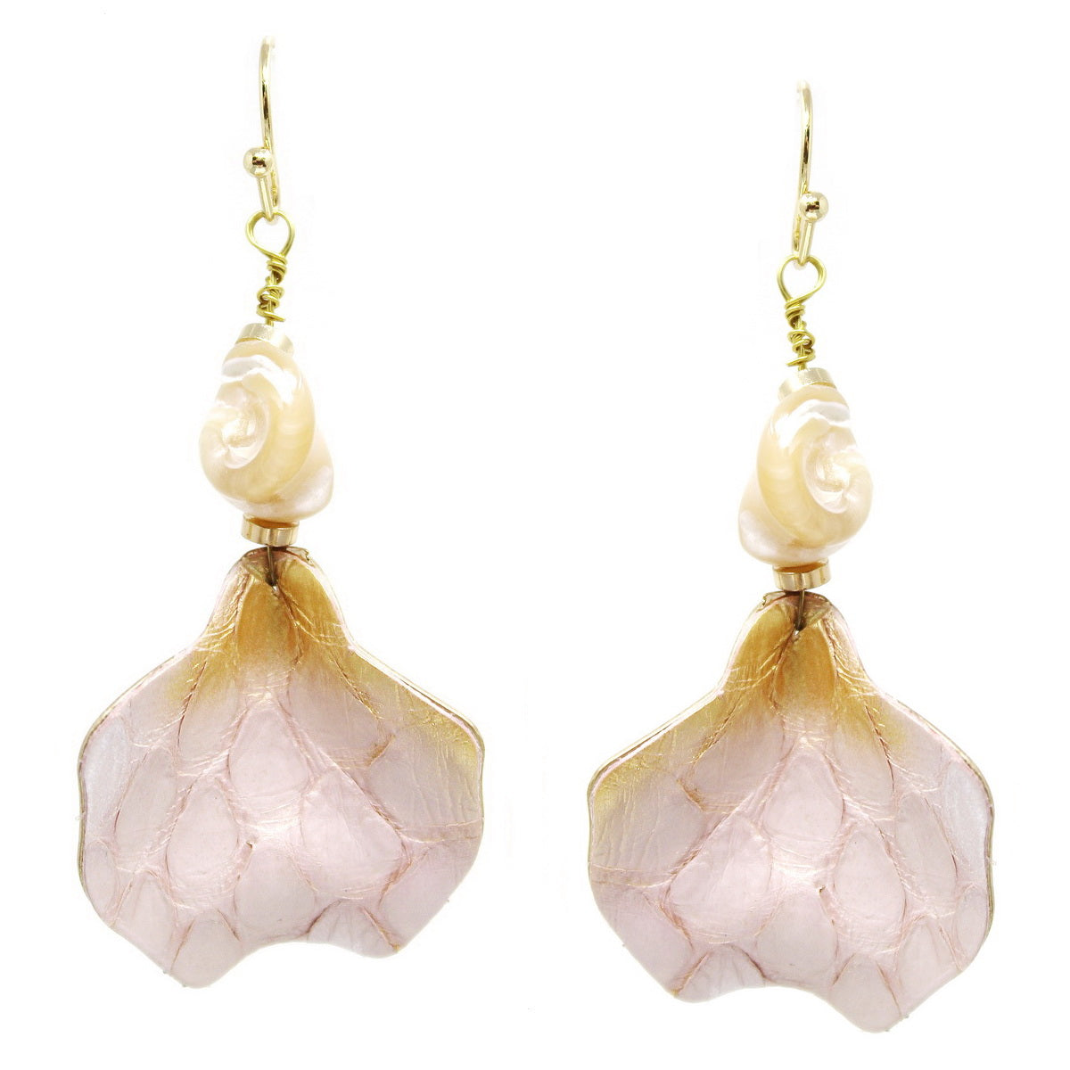 Snake Skin Leather Covered Mother Of Pearl Drop Earrings