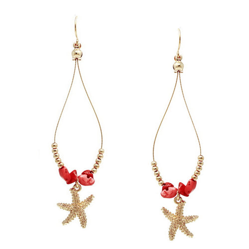 Natural Stone And Metal Bead Wire Earrings With Starfish Charm